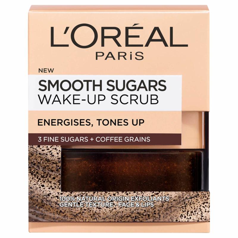 L'Oreal Paris Smooth Sugar Wake-Up Coffee Face and Lip Scrub, 50ML